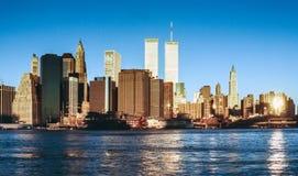Senken Sie mahattan und World Trade Center Stockfoto