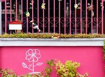 Senkt u. grüne Efeuanlage auf alter farbiger Betonmauer Stockfoto
