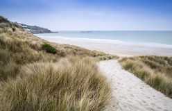Sennen Cove beach and sand dunes. Before sunset Cornwall England Royalty Free Stock Photos