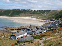Sennen Cove, Cornwall. A full landscape shot of Sennen Cove harbour / resort in cornwall, England, taken from the coastal path from Lands End Royalty Free Stock Image