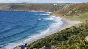 Sennen Cove Cornwall UK. Gwynver beach at Sennen Cove in Cornwall UK. This is the furthest beach in the Far West of the UK Stock Photos