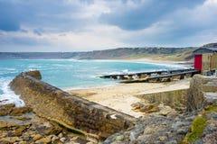 Sennen zatoczki zima Cornwall Obrazy Stock