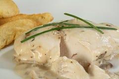 Seno di pollo con salsa Immagine Stock Libera da Diritti