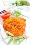 Seno di pollo fritto del peperoncino rosso Fotografia Stock Libera da Diritti