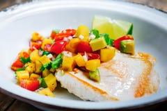 Seno di Turchia con la salsa del mango Fotografia Stock