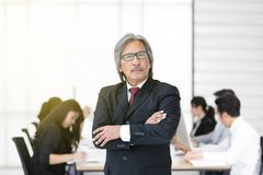 Senoir businessman standing while other junior businessmen sitting in background in modern office royalty free stock photos