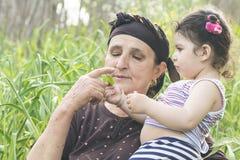 Senor Grandmother con su nieto en el jard?n del ajo imagen de archivo libre de regalías