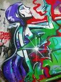 Senora Purple Posh Spice - Street Art av Valencia arkivfoto
