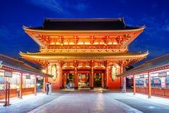 night view of senso ji in tokyo city royalty free stock photography