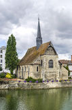 Sens - Church on the Yonne river Royalty Free Stock Photos