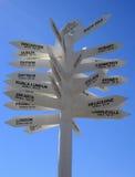 Sens de signe de destination du monde aux places célèbres Photographie stock libre de droits