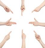 Sens réglés de geste de main Photos libres de droits