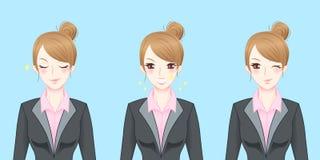 Sensação da mulher de negócio dos desenhos animados segura Fotos de Stock Royalty Free
