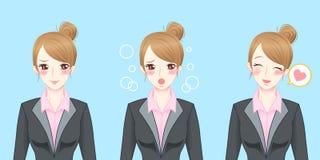 Sensação da mulher de negócio dos desenhos animados tímida Imagens de Stock Royalty Free