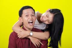 Sensación adolescente asiática feliz de los pares emocionada Imagen de archivo