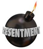 Sensación amarga del resentimiento de la cólera redonda de la bomba del negro de la palabra del resentimiento 3d Imagen de archivo libre de regalías