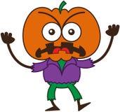 Sensación enojada del espantapájaros de Halloween furiosa y protesta stock de ilustración