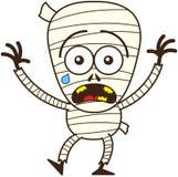 Sensación linda de la momia de Halloween asustada stock de ilustración