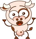 Sensación linda de la vaca sorprendida y asustada ilustración del vector