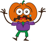 Sensación linda del espantapájaros de Halloween asustada ilustración del vector