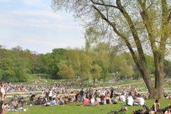Sensaciones de la primavera - gente joven que se enfría en el parque Imagen de archivo