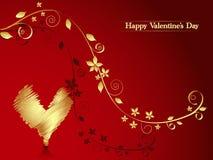 Sensaciones de oro. Tarjeta de la tarjeta del día de San Valentín. Fotos de archivo libres de regalías