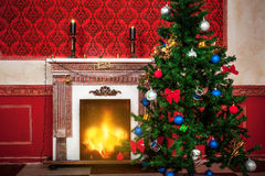Sensasional vintage Christmas interior Stock Photos