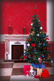 Sensasional vintage Christmas interior. Studio shot Royalty Free Stock Photography