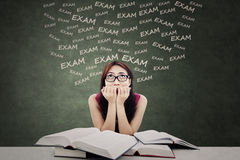 Sensation d'étudiant effrayée de l'examen Photos stock
