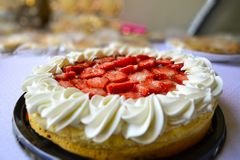 Sensation in my palate. Strawberry cream tart stock photo