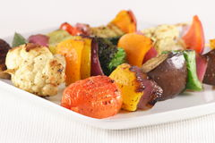 Sensational veggies feast. Grilled and exquisite vegetables ,perfectly made skewers Royalty Free Stock Images