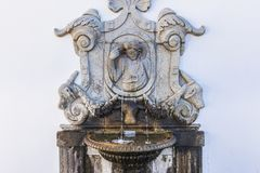 Bom Jesus do Monte sanctuary. `Sense` fountain on stairs of famous sanctuary Bom Jesus do Monte near Braga in historical Minho Province, Portugal Royalty Free Stock Photos