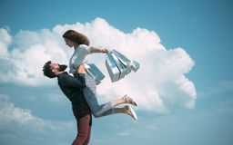 Sense of freedom. couple in love. present packages. family holiday. summer fashion. spring. bearded man with happy woman. Sense of freedom. couple in love royalty free stock photo