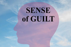 Sense of Guilt - mental concept. Render illustration of `SENSE of GUILT` title on head silhouette, with cloudy sky as a background stock illustration