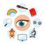 5 sense organs. Vision. Vector illustration royalty free illustration
