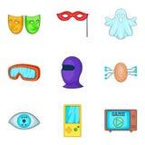 Sense perception icons set, cartoon style. Sense perception icons set. Cartoon set of 9 sense perception vector icons for web isolated on white background Royalty Free Stock Photos