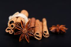 Sense of Spices star anise and cinnamon on black background. With copy space Stock Image