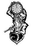 Sensenmann oder der Tod mit einer Uhr Stockfotos