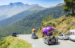 Senseo Caravan in Pyrenees Mountains - Tour de France 2015. Col D'Aspin,France- July 15,2015: Senseo Caravan during the passing of the Publicity Caravan on the Royalty Free Stock Image
