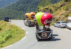 Senseo Caravan in Pyrenees Mountains - Tour de France 2015. Col D'Aspin,France- July 15,2015: Senseo Caravan during the passing of the Publicity Caravan on the Stock Photos