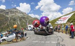 Senseo Vehicle - Tour de France 2015. Col du Glandon, France - July 24, 2015: Senseo caravan during the passing of the Publicity Caravan on Col du Glandon in stock photography