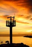 Senset del cielo del mar del faro foto de archivo libre de regalías