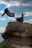 Sensibilità della libertà nel vento fotografia stock