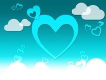 Sensibilità romantica o Passionat di mezzi del fondo delle nuvole e dei cuori Fotografia Stock