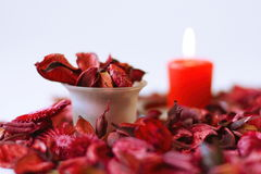 Sensibility. Petal of the flowers and candle Royalty Free Stock Photo