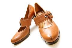 Sensible shoes. Comfortable brown new shoes, waiting to be worn royalty free stock image