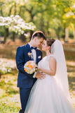 The sensitive close-up portrait of the hugging newlywed couple in the sunny park. Stock Photos