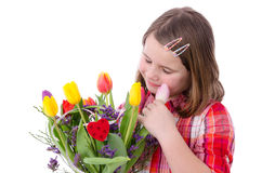 Sensitive flowers in girl hands Stock Images
