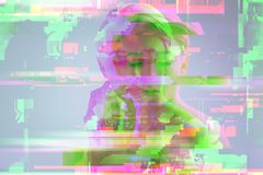 Sensitive girl touching her face and thinking. Glitch art. Calm pretty girl thinking about her future and touching her face while being alone royalty free stock photo