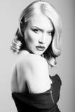 Sensitive portrait of a blonde woman stock photography